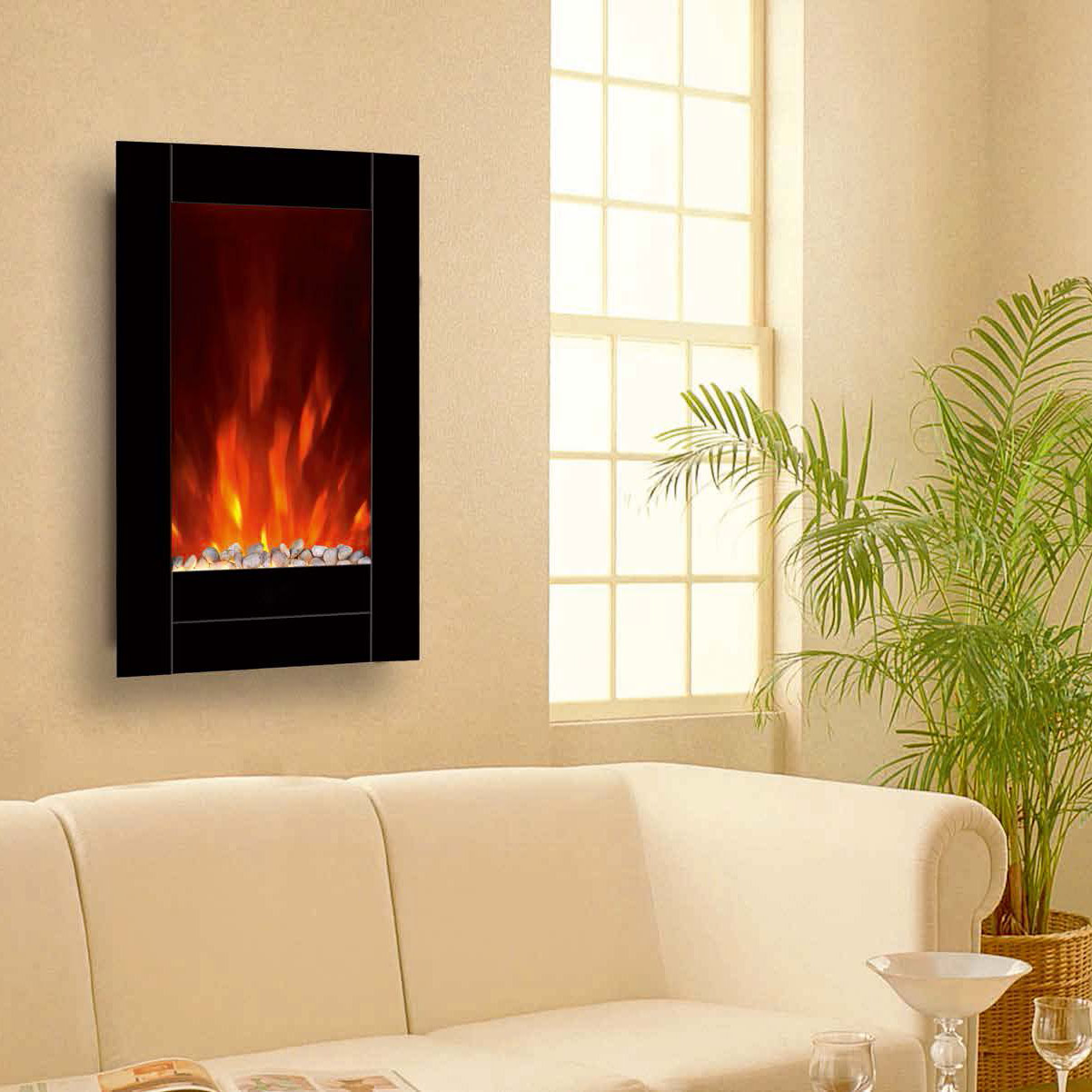 "23""Bevel Edge Mirror Standing Wall Mounted Electric Fireplace Heater(Pebbles Fuel) LED flame effect"
