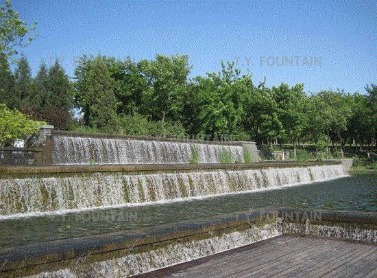 Artificial waterfall decorated garden and landscope