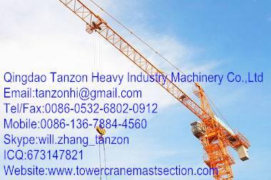 10 Tons China Building Tower Crane 180m For Construction Bridges TC6512-10