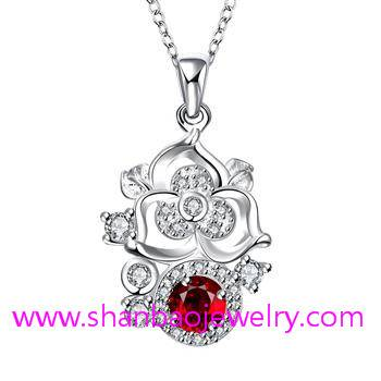Shanbao Jewelry Imitation Jewelry Silver Plated Costume Fashion Zircon Jewelry Necklaces
