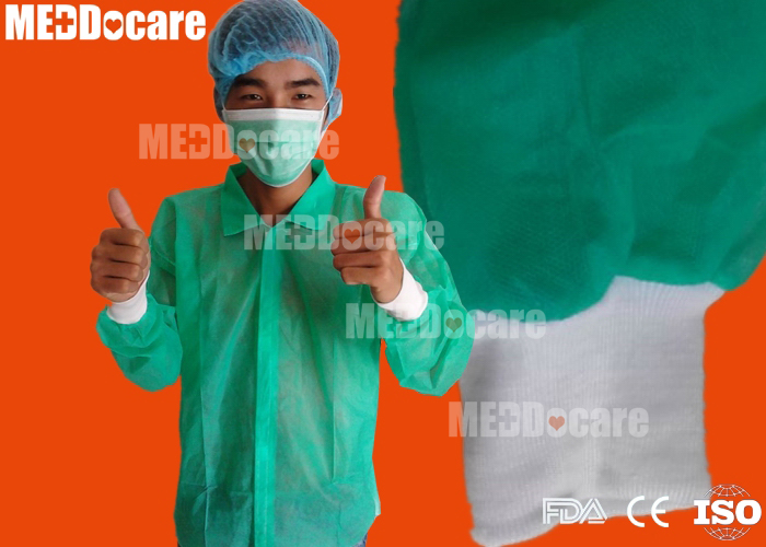 Disposable Single Color Knitted Cuff Non Woven Pp Lab Coat