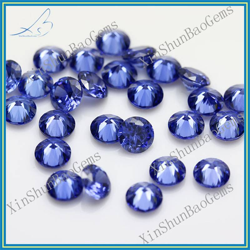 Hot Sale 2.25mm Round Brilliant Cut Blue Loose Cubic Zirconia Synthetic Diamond