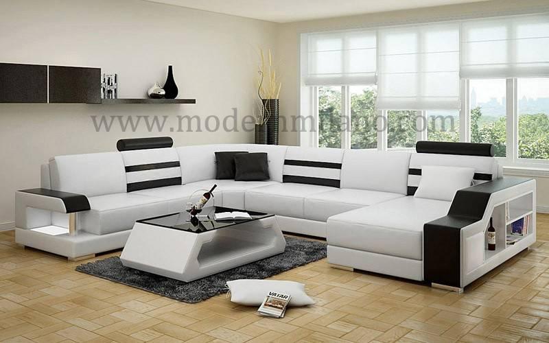 Modern white elegant leather sofas