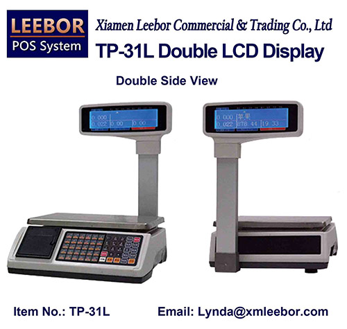 Supermarket Price Computing Scale, Cash Register Multi-language LCD Display Platform Weighing System