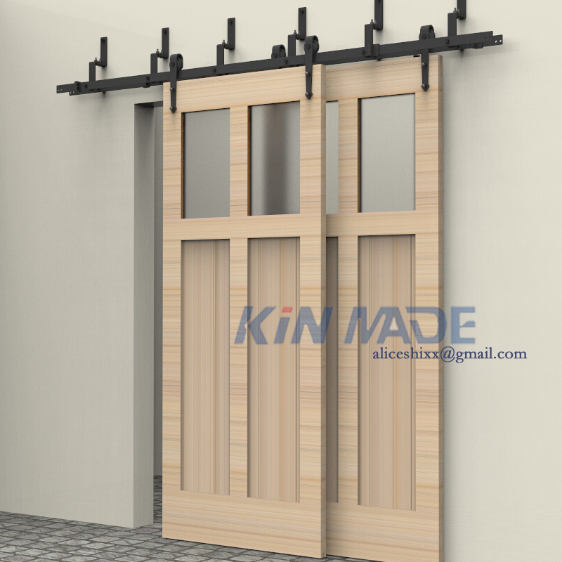 Double bypass sliding barn door hardware track kits