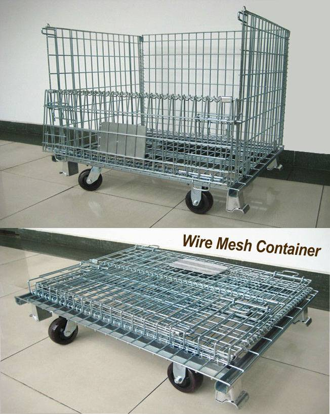 Folding Steel Cage Wire Mesh warehouse storage cage