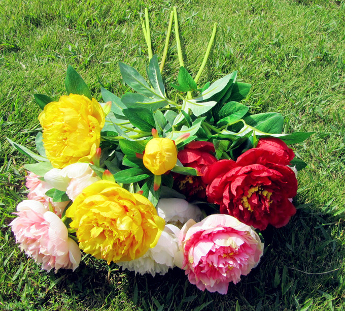 3 Heads/Bunch Silk / Simulation / Artificial flower Peony flower for home wedding decoration