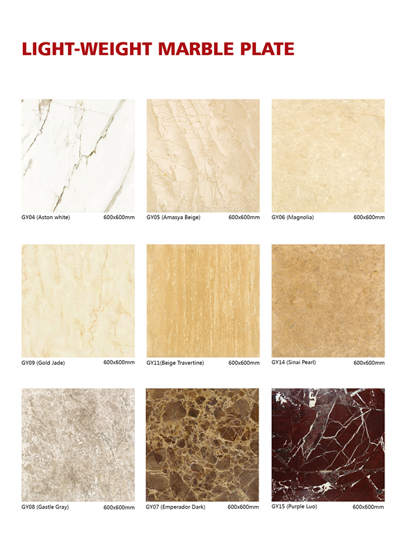 Light-weight marble slabs