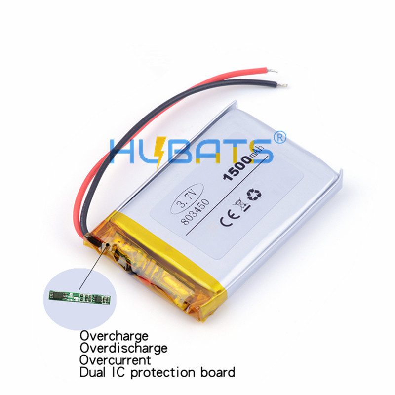Hubats 1500mAh 803450 3.7v lithium Li ion polymer rechargeable battery for GPS mp3 mp4 mp5 dvd bluet