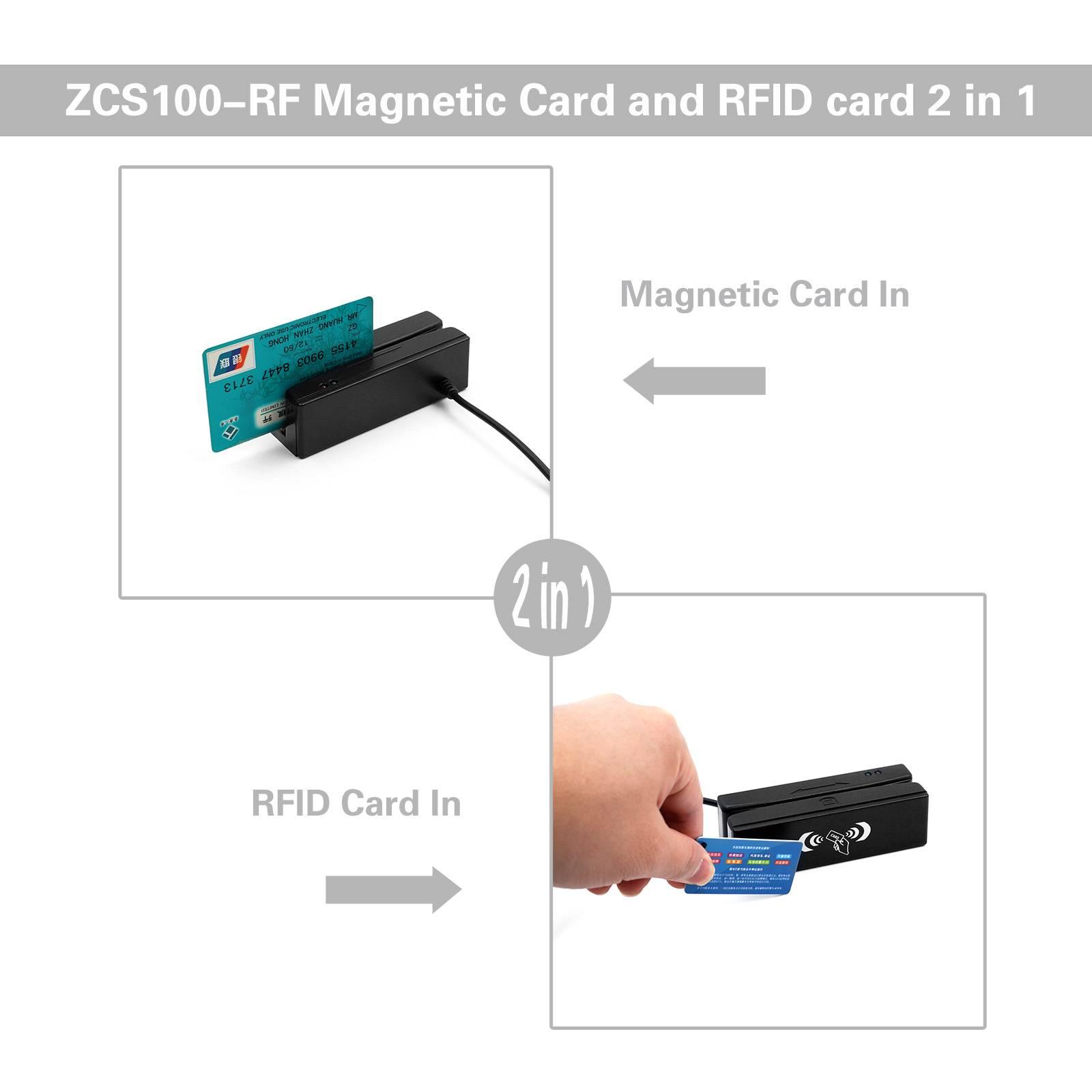 ZCS100-RF Magnetic Stripe Reader + 13.56MHZ RFID Card Reader Writer