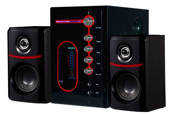 2.1 CH Speakers with FM USB/SD and Remote Control