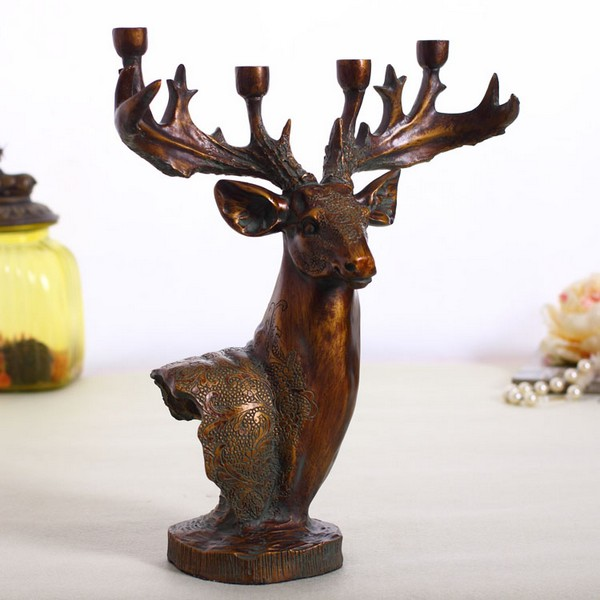Classic retrodeer resin Ornaments deer head candle holder
