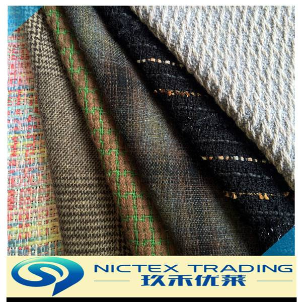 woven tweed polyester/acrylic/rayon/nylon/viscose/cotton/wool blended woolen fabrics for coats and s