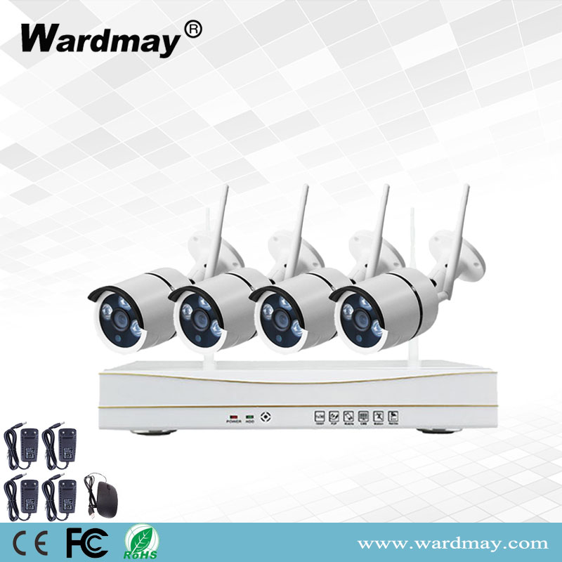 CCTV 4chs 1.0MP/2.0MP Home Wireless Security Surveillance Camera Alarm System WiFi NVR Kits