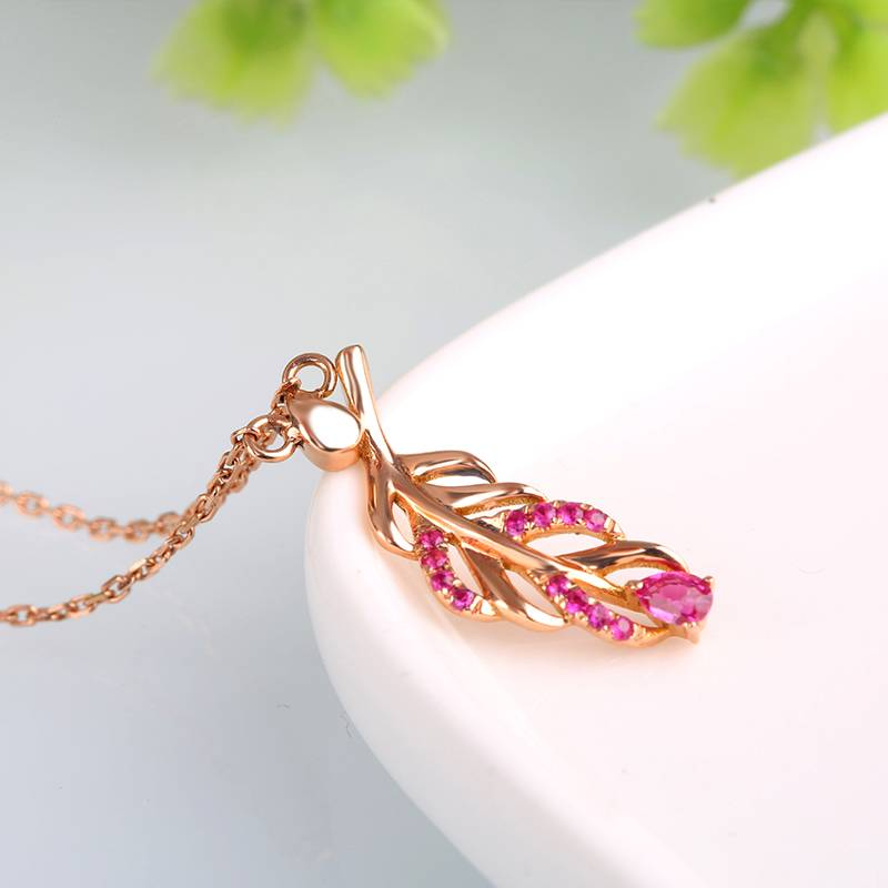 Robira Feather Design Ruby Pendant Necklace 14K Gold Fashion Charm for Women