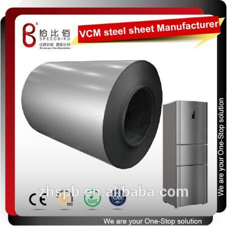 VCM steel sheet for refrigerator doors