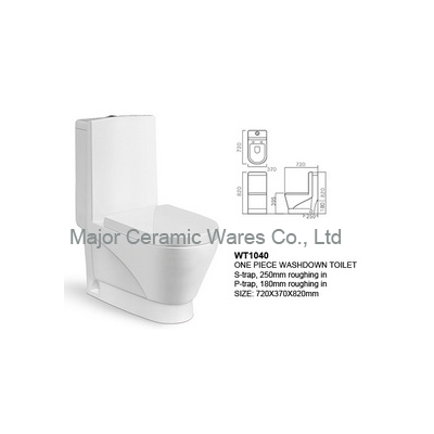 WT1040 ONE PIECE WASHDOWN TOILET, S-TRAP 250MM, P-TRAP 180MM