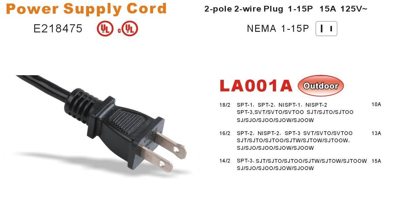 UL C(UL) 2-pole 2-wire Plug 1-15P 15A 125V~