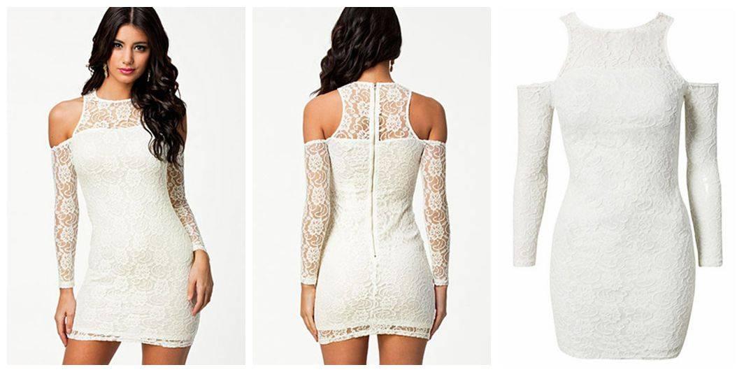 Angelic White Cold Shoulder Lace Mini Dress