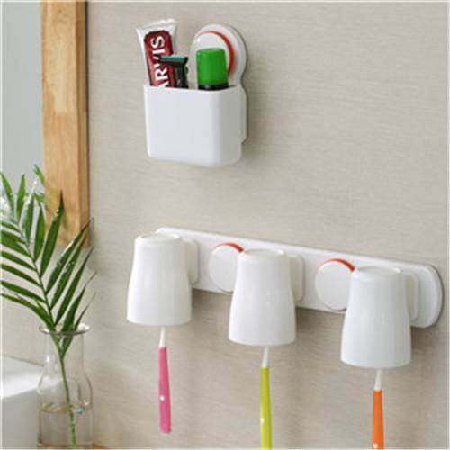 Suction Cup Toothbrush Holder Organizer with Toothpaste Rack