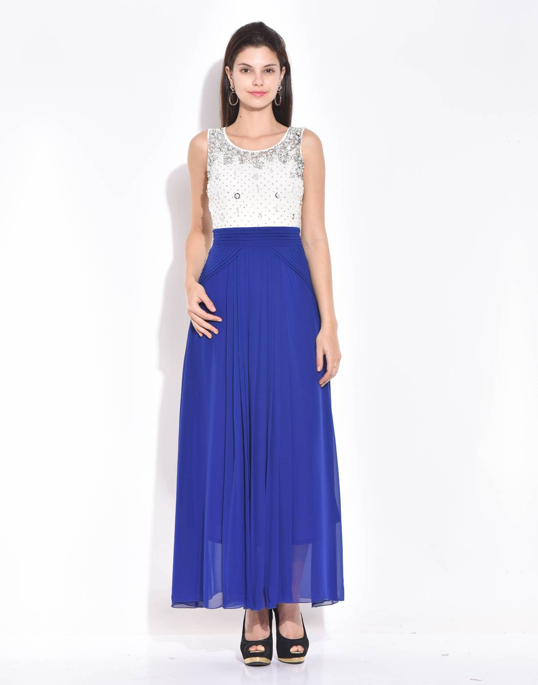 Royal Blue-Ivory Beaded and Sequined Dress