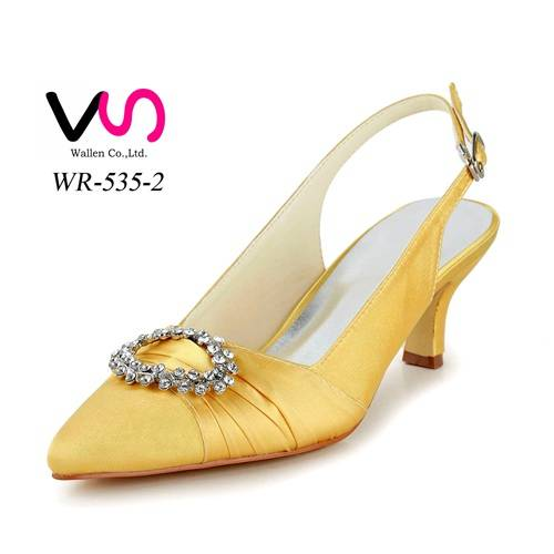 low heel high yellow color bridal wedding shoes