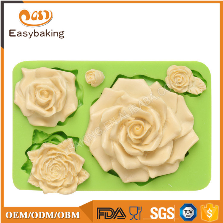 Flower silicone fondant mold for wedding cake