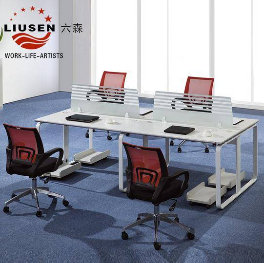 4 Seaters White Modern and practical office computer desks with screens contain free CPU holders ( W