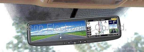 Car Rearview Mirror with 4.3 inch LCD Touch Screen built-in GPS + Bluetooth