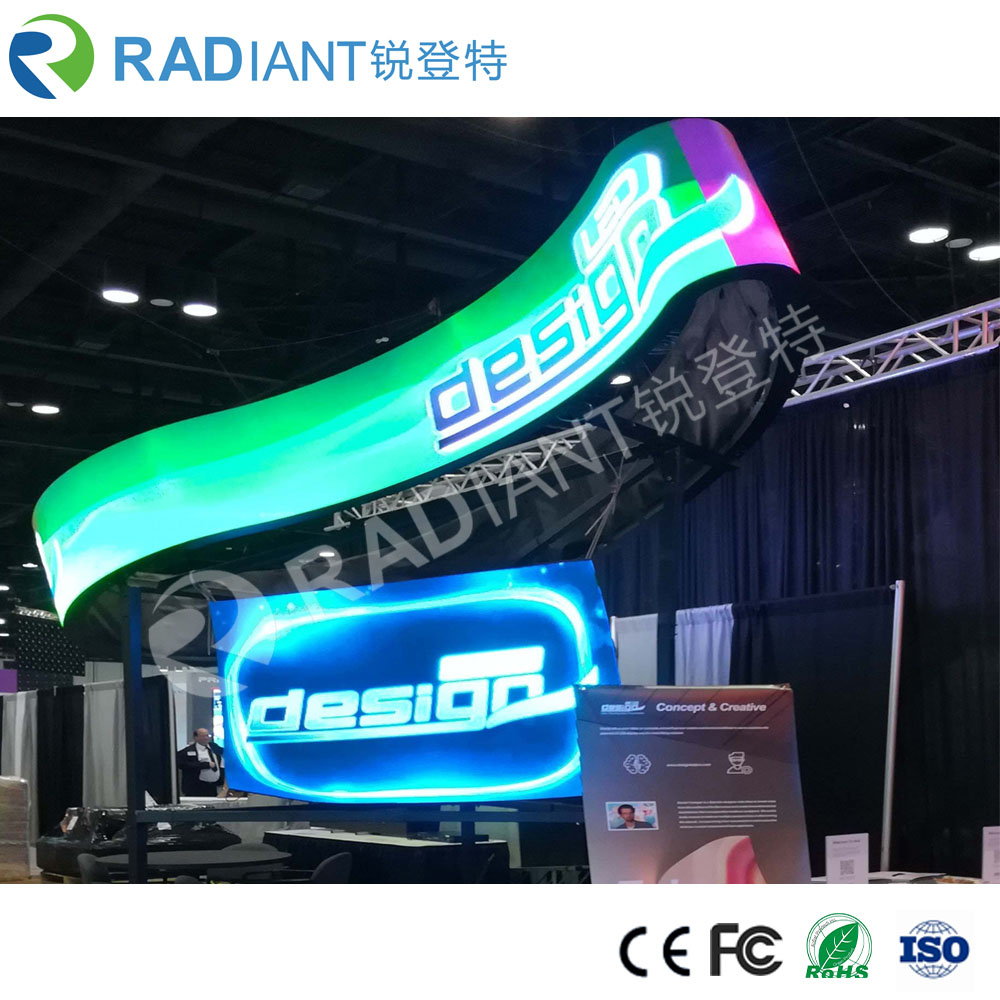 P3.0 creative indoor full color hd flexible led cylinder display screen
