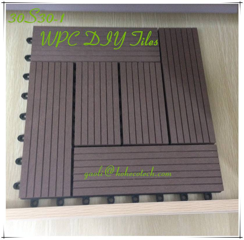 Easy install outdoor patio flooring interlocking DIY PE wpc Tiles