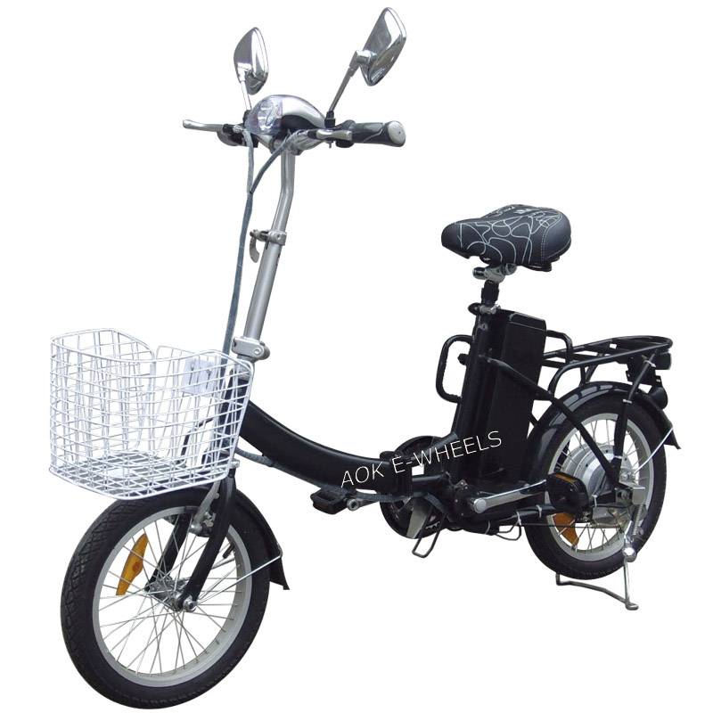 Light Folding Electric Bike with Basket and LED Headlight (FB-006)
