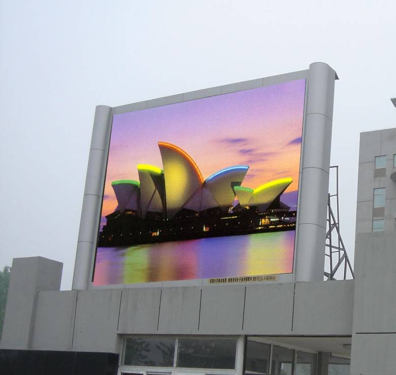 Outdoor LED screen, on the top of the building