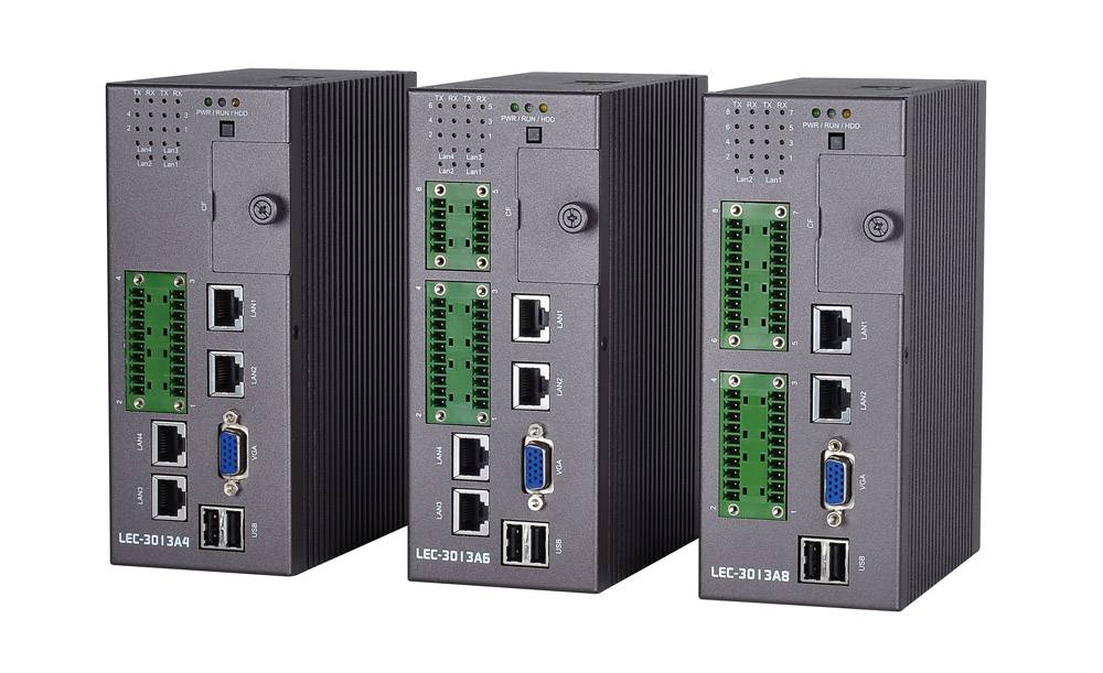 Fanless DIN Rail IPC with Atom™ D525, 8 x Serial COM, SSD