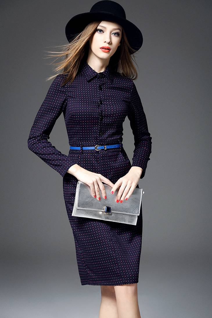 Europe winter 2015 new women's fashion round wave lapel long sleeve dress