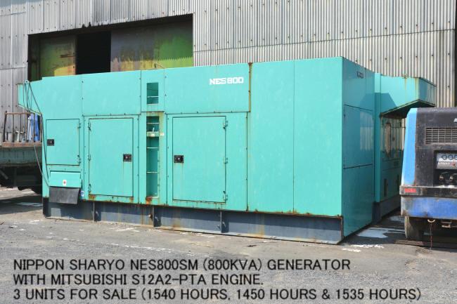 "USED ""NIPPON SHARYO"" NES800SM (800KVA) GENERATOR WITH ""MITSUBISHI"" S12A2-PTA ENGINE"