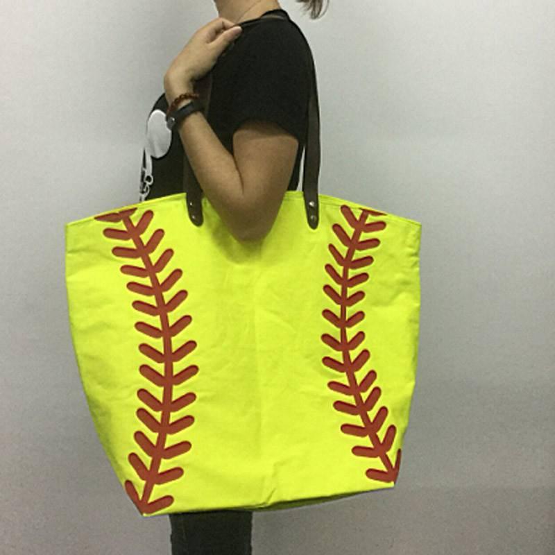 (1 Pcs/Lot) Monogrammable Baseball Tote Bag Mom Shoulder Bag