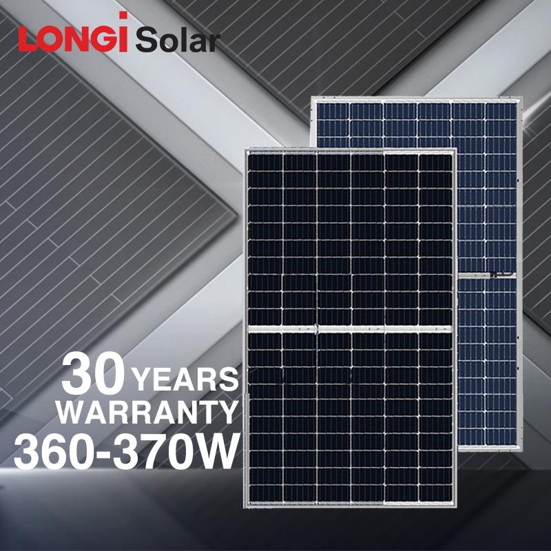 LONGI solar PERC half cell solar panel double glass 345W 350W 360W 365W 370W bifacial solar panel