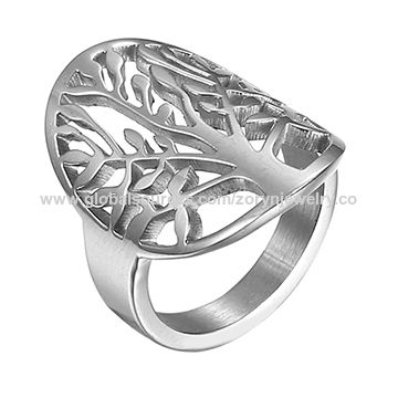 Stainless Steel Ring with Tree Patter