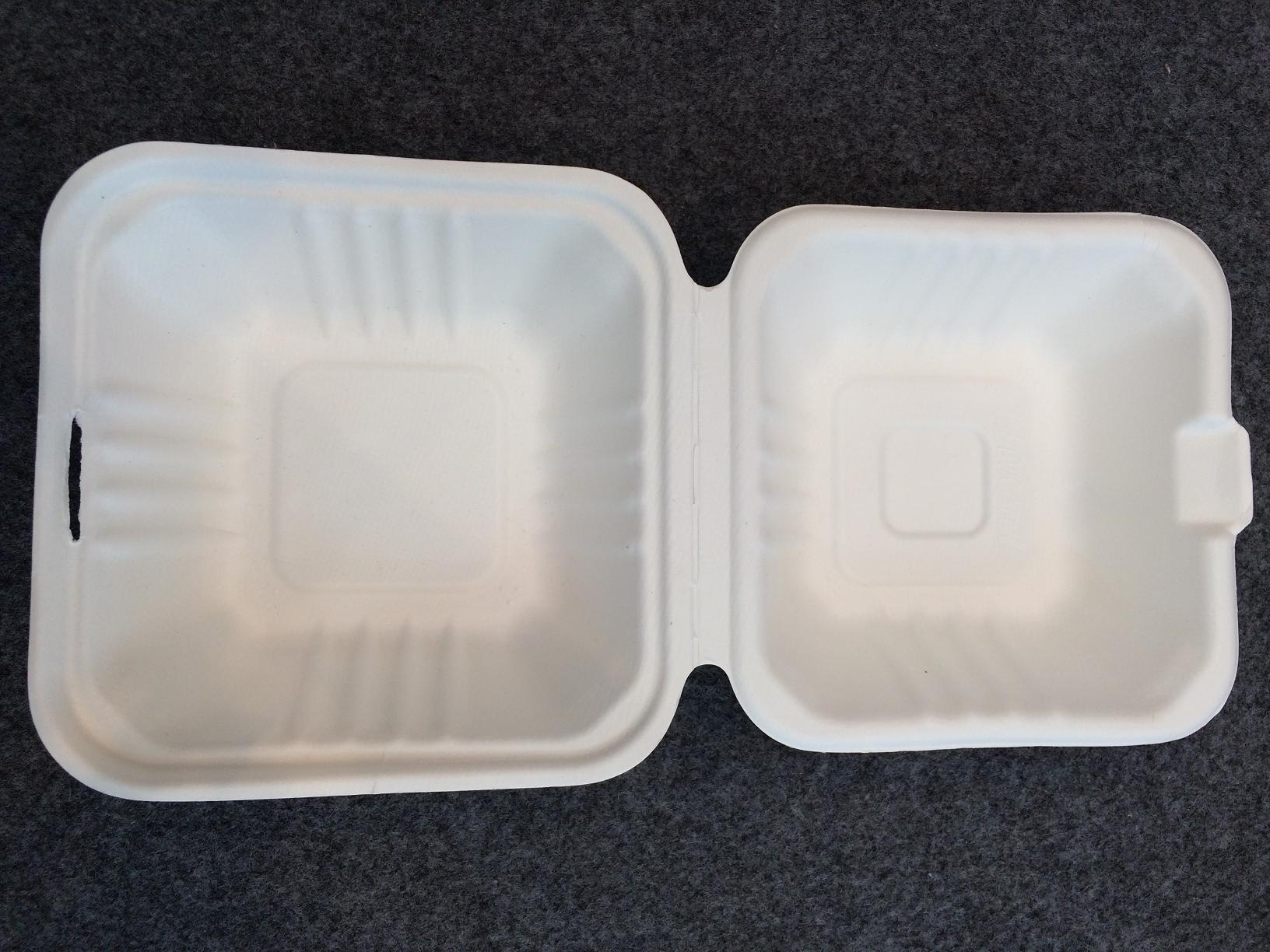 Single-use Eco Green Bagasse Clamshell