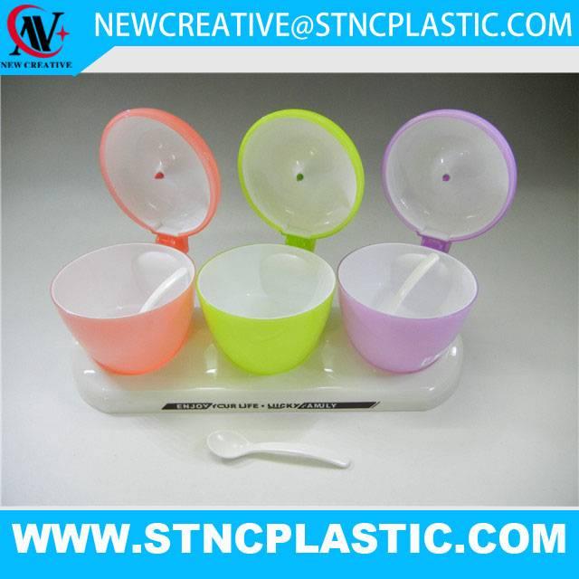 colorful apple plastic condiment dispenser box seasoning container 3pcs