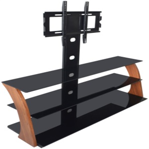 Black tempered glass MDF with veneer tv stand