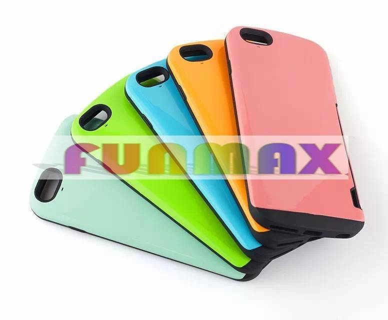 Silicone + PC Hybrid Protective Phone Case Cover Shell with Card Holder for Apple iPhone 6 Plus 5.5