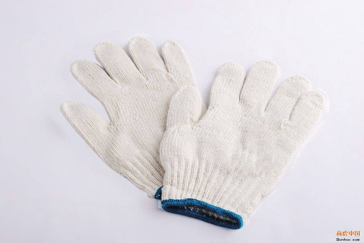 7 gauge bleached white cotton knitted working gloves