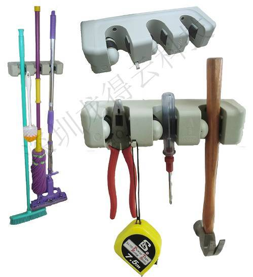 (LDY0301)Manufacturer Price$1.7/piece Patent Product 3 Slots mop holder, broom hanger, wall hook, to