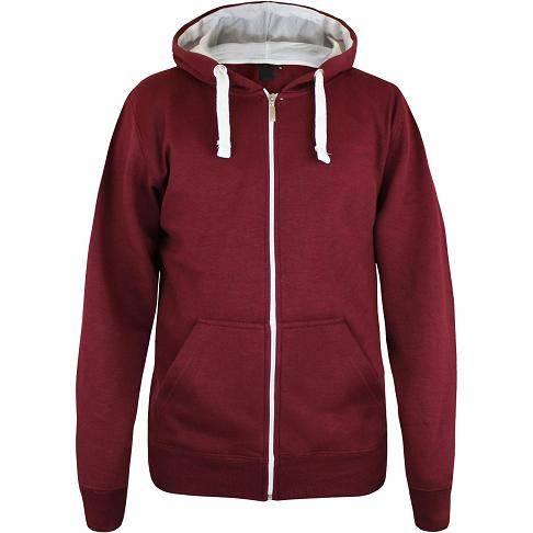 Men's plain fleece hoodie with full zipper