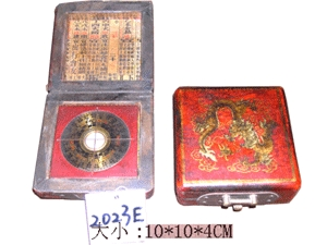 Compass,Antique craft,Leather covered box