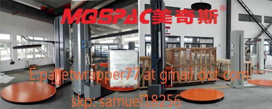 Semi-auto pallet wrapper with top plate