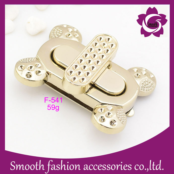 Rectangle Gold Metal Twist Lock for Handbag