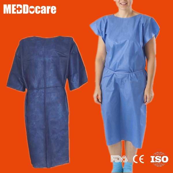 Disposable Non Woven Nurse Gown Hospital Exam Patient Gown